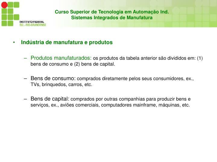 Indústria de manufatura e produtos