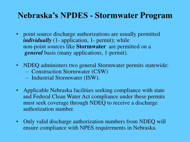 Nebraska's NPDES - Stormwater Program