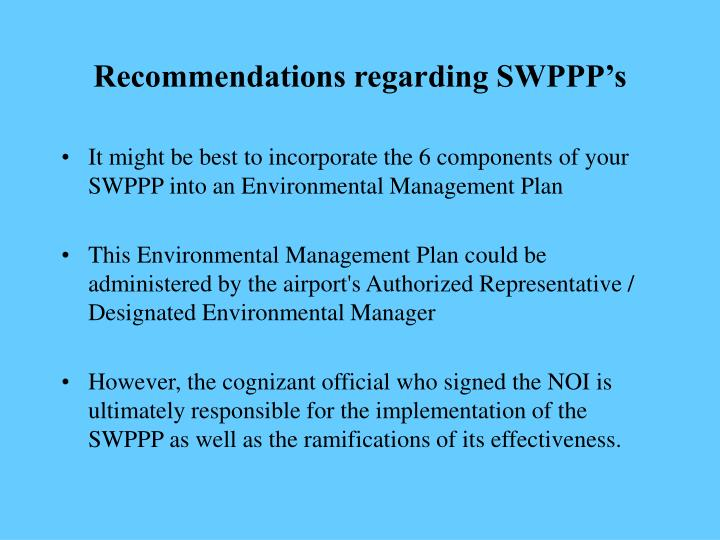 Recommendations regarding SWPPP's