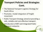 transport policies and strategies cont