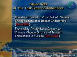 objectives of the taskteam cc indicators