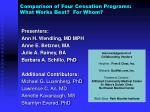 comparison of four cessation programs what works best for whom1