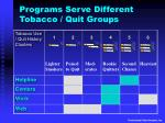 programs serve different tobacco quit groups