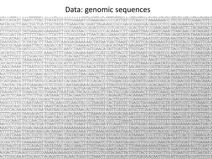 Data: genomic sequences