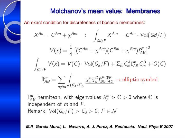 Molchanov's mean value:  Membranes