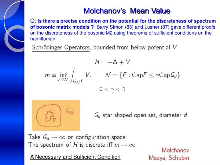Molchanov's  Mean Value