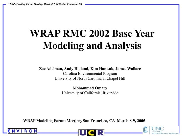 wrap rmc 2002 base year modeling and analysis n.