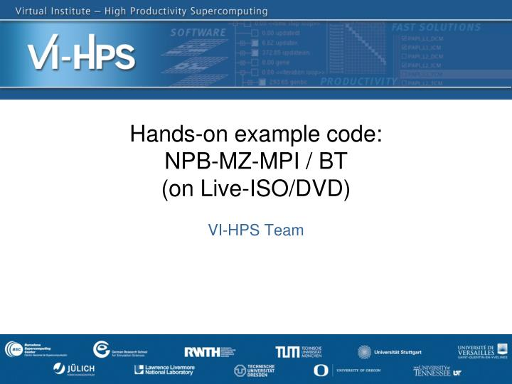 hands on example code npb mz mpi bt on live iso dvd