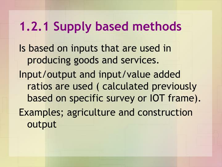 1.2.1 Supply based methods