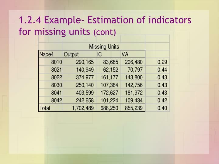 1.2.4 Example- Estimation of indicators for missing units