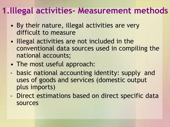 1.Illegal activities- Measurement methods