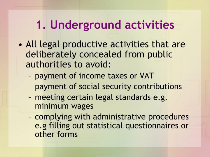 1. Underground activities