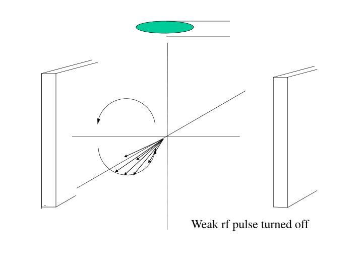 Weak rf pulse turned off