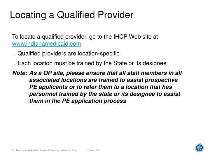 Locating a Qualified Provider