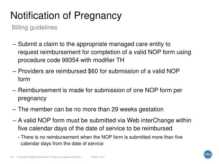 Notification of Pregnancy