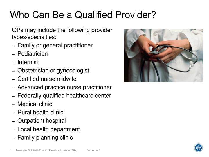 Who Can Be a Qualified Provider?