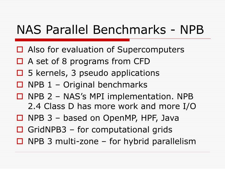 NAS Parallel Benchmarks - NPB
