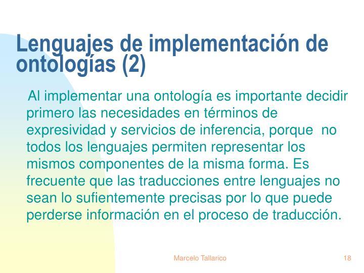 Lenguajes de implementación de ontologías (2)