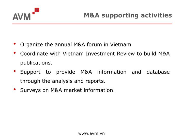 M&A supporting activities