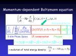 momentum dependent boltzmann equation