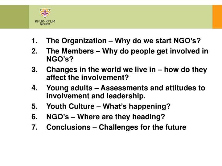 The Organization – Why do we start NGO's?