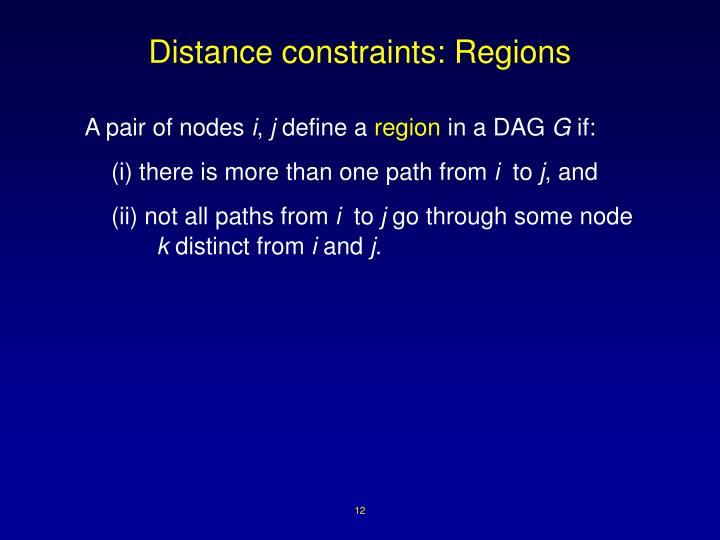 Distance constraints: Regions