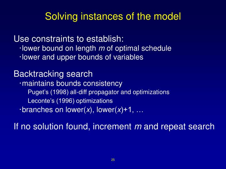 Solving instances of the model