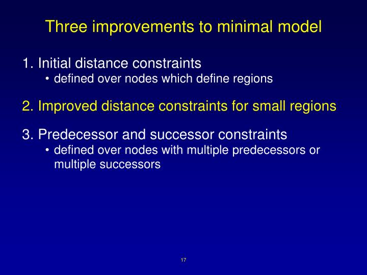 Three improvements to minimal model