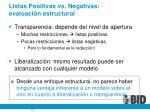 listas positivas vs negativas evaluaci n estructural