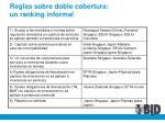 reglas sobre doble cobertura un ranking informal
