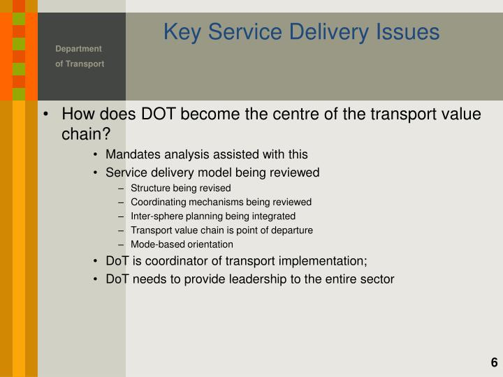 Key Service Delivery Issues