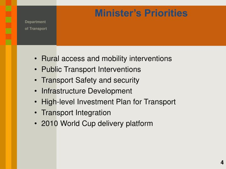 Minister's Priorities