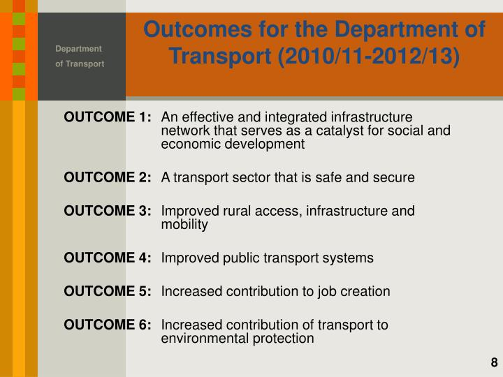 Outcomes for the Department of Transport (2010/11-2012/13)