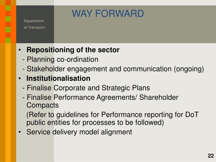 Repositioning of the sector