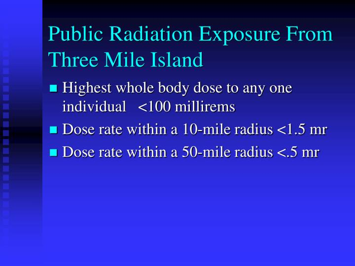 Public Radiation Exposure From Three Mile Island