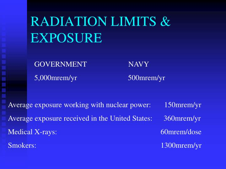 RADIATION LIMITS & EXPOSURE