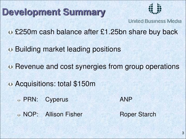 £250m cash balance after £1.25bn share buy back