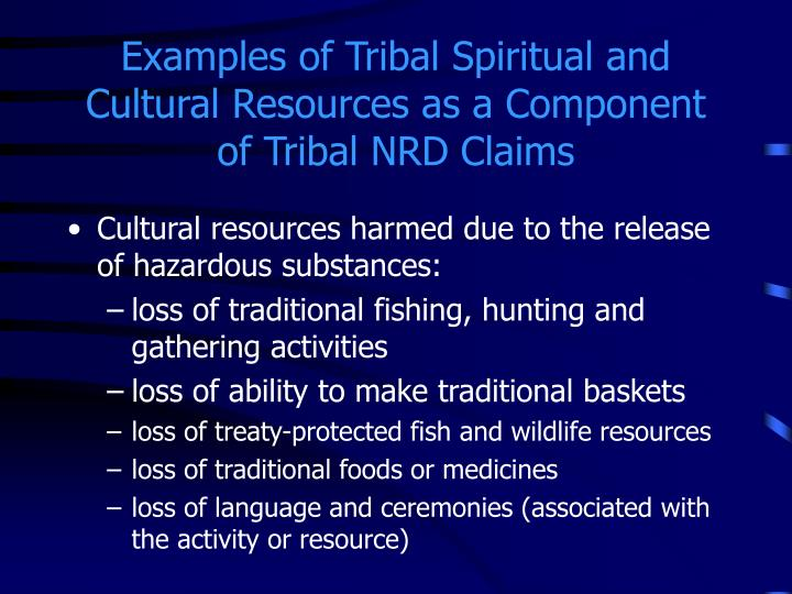 Examples of Tribal Spiritual and Cultural Resources as a Component of Tribal NRD Claims
