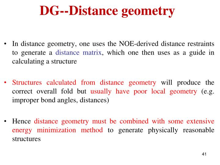 DG--Distance geometry