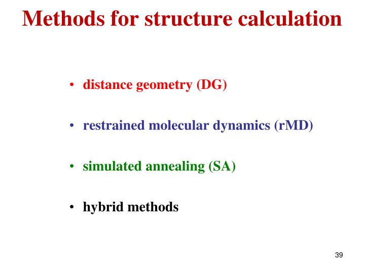 Methods for structure calculation