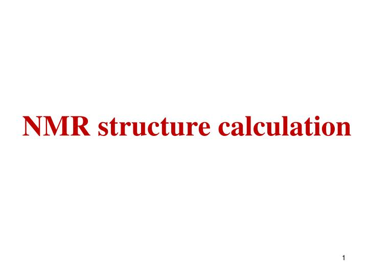 Nmr structure calculation