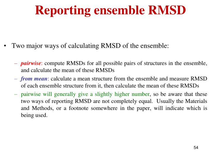 Reporting ensemble RMSD