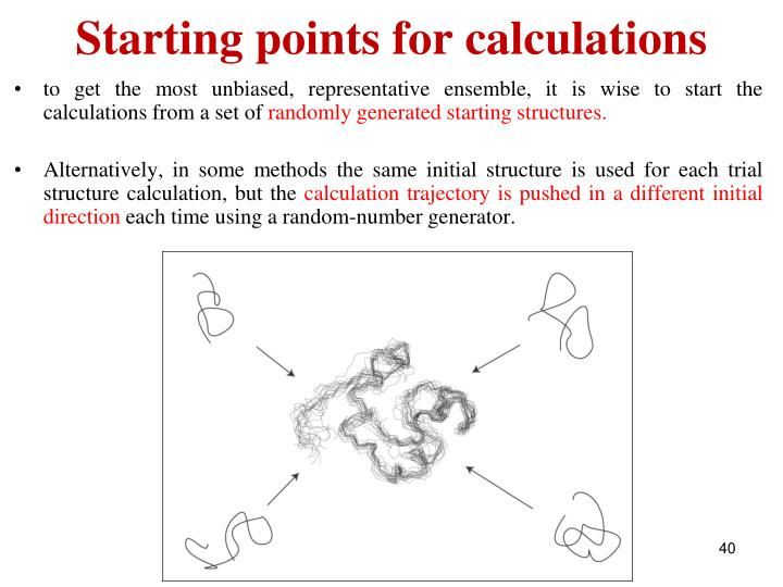 Starting points for calculations