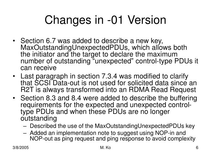 Changes in -01 Version