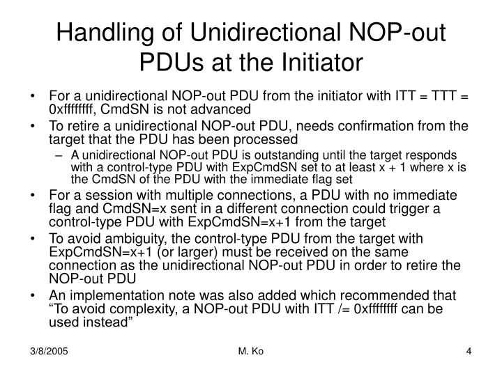 Handling of Unidirectional NOP-out PDUs at the Initiator