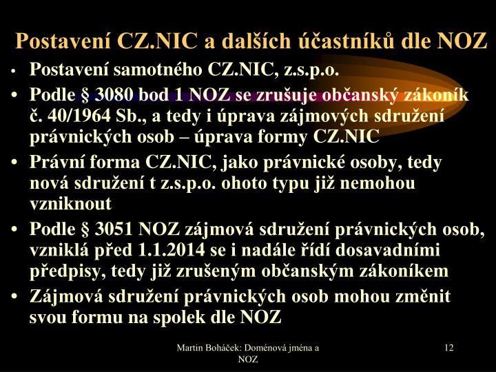 Postavení CZ.NIC a dalších účastníků