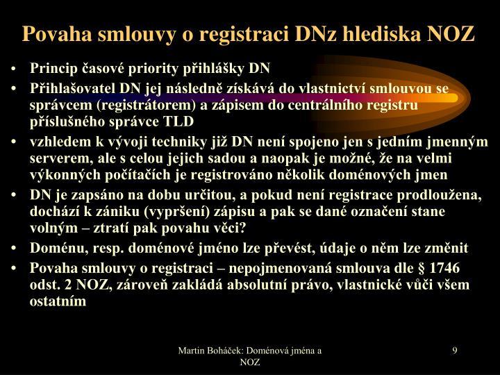 Povaha smlouvy o registraci