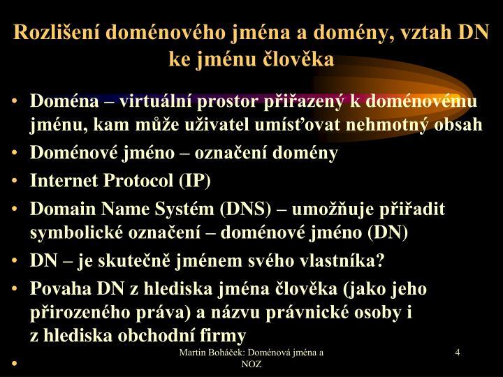 Rozlišení doménového jména a domény, vztah DN ke jménu člověka