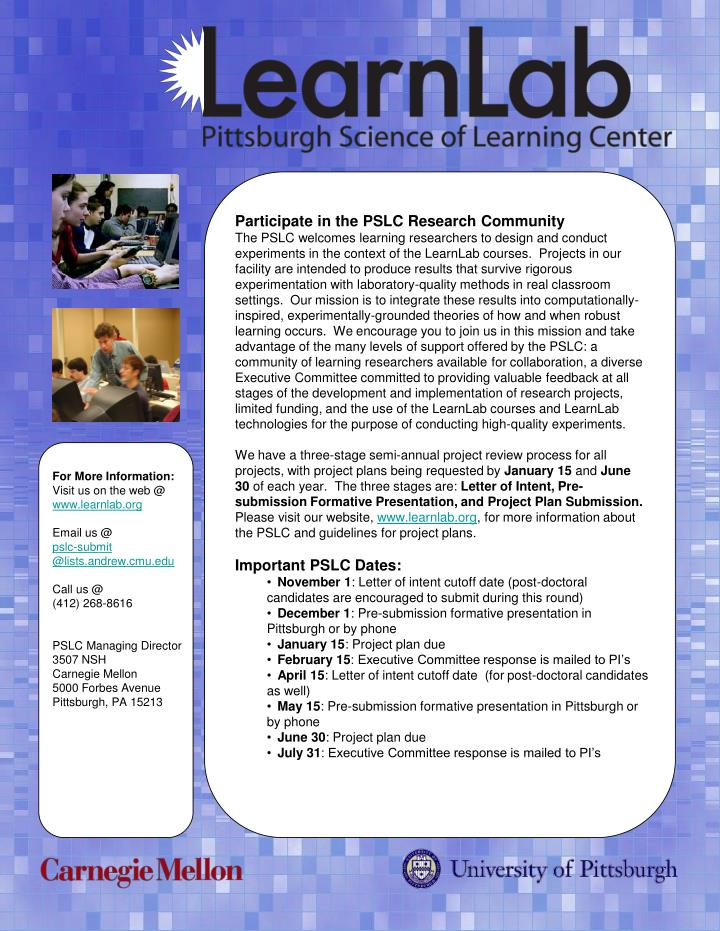 Participate in the PSLC Research Community