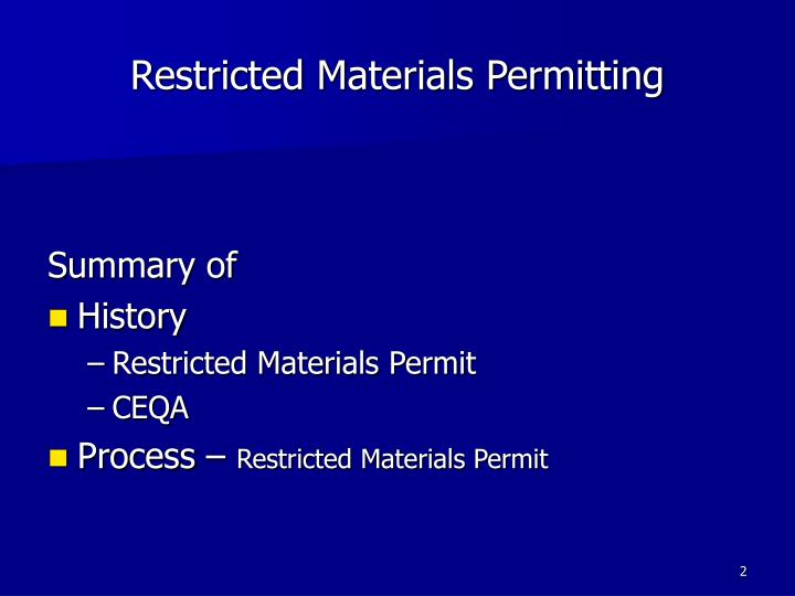Restricted materials permitting1